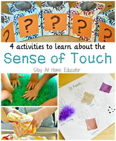 4 activities to learn about the sense of touch in five senses preschool theme - Stay At Home Educator