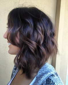 Medium Length Hairstyles With Layers Shoulderlength Wavy Hair With Short Layers And Blue Balayage