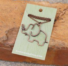 Elephant Necklace. Oxidized Copper. Wire Jewelry.