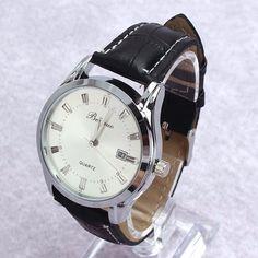 Men's Luxury Sport Analog Quartz Stainless Leather Watches Wrist Watch Gift C