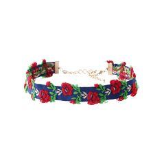 $4.48 Adjustable Flower Embroidered Choker Necklace - Blue