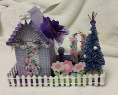 Backside of Lisa's Garden Bungalow glitter house, made from cereal box