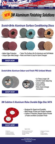 Introducing 3M's New Aluminum Finishing abrasive line. These new disc offer better edge protection, a more consistent finish and a quick change design. This gives the operator more control and greater product performance. The range of sizes and grits provides the user with a wide range of finishing options. Check them out today and see the difference they can make in your shop.