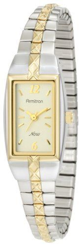 Armitron Women's 753415CHTT NOW Two-Tone Stainless Steel Expansion Bracelet Dress Watch Armitron. $37.49. Second hand sweep. Two-tone stainless steel expansion band. Water-resistant to 99 feet (30 M). Light champagne dial with gold-tone Arabic numerals at 12 and six o'clock, remaining hours are gold-tone index markers. Save 32% Off!