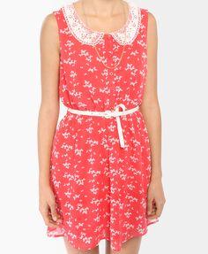 Ditsy Butterfly Dress w/ Belt | FOREVER21 - 2000042047