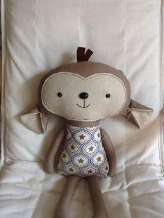 Monkey Softie Plush Doll Ready to ship by BellaBooStudioUK on Etsy, £18.00