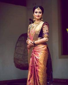 Ideas for indian bridal sari hindus South Indian Wedding Saree, Indian Bridal Sarees, Wedding Silk Saree, Indian Bridal Fashion, Bridal Lehenga, South Indian Bride Saree, Tamil Wedding, South Indian Weddings, South Indian Bride Jewellery