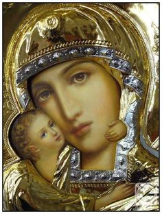 Russian Orthodox Icon of the Mother of God. This contemporary icon shows a clear…