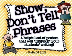 """Expressing oneself in writing can be tough for some, especially young writers. Encourage your students to """"show, and not tell"""" what their character. Writing Strategies, Writing Resources, Teaching Writing, Writing Ideas, Teaching Ideas, Writing Help, Writing Skills, Small Moment Writing, Writing Mini Lessons"""