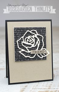 Teneale WIlliams | Stampin up Rose Garden Thinlits Dies | Clean and simple CAS handmade card in natural tones of Basic Black, Crumb Cake and Very Vanilla