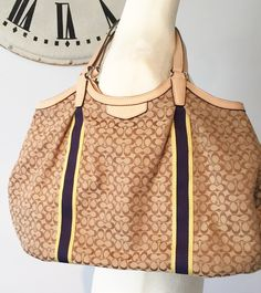 2c8986dca7ec Call Jannie. Medium ToteYellow StripesVintage OutfitsNauticalTote BagNavy  MarineCarry BagTote BagsSailor. Deluxe Coach New York Beige Canvas ...