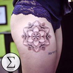 Pretty dotwork mandala done on girls hip by Dots by Sigma.  http://tattooideas247.com/mandala-hip/