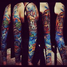 Disney characters full sleeve tattoos #TattooModels #tattoo