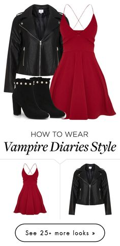 """Katherine Inspired Date Outfit - The Vampire Diaries / The Originals"" by fangsandfashion on Polyvore featuring Zizzi and Boohoo"
