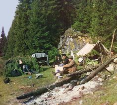Expedition to the Urals  Sergei Mikhailovich Prokudin-Gorskii and members of his photographic team are shown here at their overnight campground. The site is near the Chusovaia River, on the western side of the Ural Mountains which divide Europe from Asia.  - 1912 -