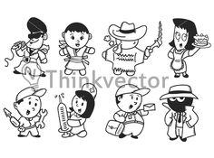 set of cartoon character DT