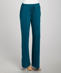 Teal Relaxed Drawstring Lounge Pants by sun n moon #zulily #zulilyfinds