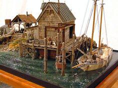 """""""Boat Repair Diorama"""" by Dave Revelia. #Miniature_house #diorama http://www.modvid.com.au/html/body_dave_revelia-boat_repair.html"""