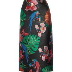 Valentino Floral-jacquard midi skirt ($2,075) ❤ liked on Polyvore featuring skirts, юбки, calf length skirts, metallic midi skirt, knee length a line skirt, floral print midi skirt and colorful skirts