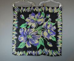 Vintage Silk Scarf Large Black Floral with Purple and Green, 1960s Head Neck 34 x 35 inch, flawed by dandelionvintage on Etsy