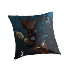 Witch Cat Apprentices Throw Pillow by NamiBear on RedBubble.com This is an illustration of three cats that are witch apprentices and are practicing riding their brooms on the moon lit starry night.