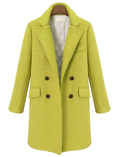 Yellow Lapel Double Breasted Woolen Coat  , High Quality Guarantee with Low Price!