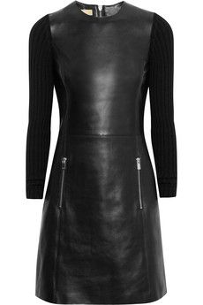 Ribbed-knit and leather dress by Michael Kors