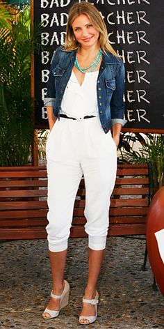 Cameron Diaz in a belted A.L.C. jumpsuit with a cuffed Current/Elliott jacket and Kara Ackerman Designs hoops, turquoise beads and espadrille wedges.    ugh those are the christian louboutins i have been looking for!!!! love the whole outfit!