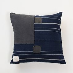 cloth & goods - vintage japanese boro patch stripe / solid black linen