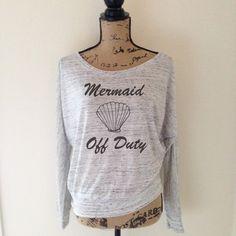 Mermaid Off Duty Shirt in Heather White  by WildandFreeCoUSA