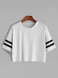 Camiseta corta hombro caído de raya universitaria - gris-Spanish Romwe Sitio Móvil