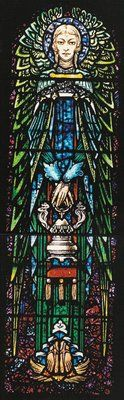 """STAINED GLASS WINDOWS FEATURED IN BOOK BY IRISH AUTHORS – Nine of the stained glass windows of St. Vincent de Paul Church in Bayonne are featured in a recently published book, """"Strangest Genius: The Stained Glass of Harry Clarke."""" Written by Irish author Lucy Costigan and photographer Michael Cullen, the book features most of the 160 windows throughout the world created by Clarke."""