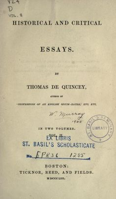 Volume 2 - Historical and critical essays (1853)