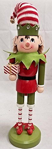 Elf with Striped Hat Holding a Present Wooden Christmas Nutcracker 14 Inch >>> This is an Amazon Affiliate link. Read more reviews of the product by visiting the link on the image.