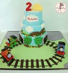Birthday cake train cakes for christopher's birthday дизайн Thomas Birthday Cakes, Thomas Birthday Parties, Thomas Cakes, Thomas The Train Birthday Party, 2 Birthday Cake, Trains Birthday Party, Train Party, Birthday Ideas, Beautiful Cakes