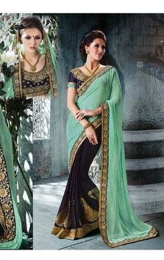 Show details for Delightful Sea Green and Navy Blue Color Pure Georgette Saree