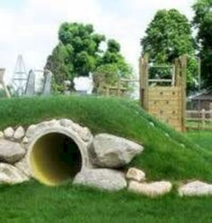 54 Garden Design for Kids Play Spaces - Home-dsgn Kids Play Spaces, Outdoor Play Spaces, Kids Play Area, Outdoor Fun, Play Areas, Playground Design, Backyard Playground, Playground Ideas, Natural Play Spaces