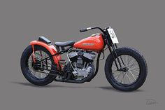 Harley Davidson WR Flat Tracker by Charley Pallos Custom Sportster, Custom Baggers, Custom Harleys, Custom Motorcycles, Custom Bikes, Cars And Motorcycles, Harley Sport, Harley Davidson Wla, Flat Tracker