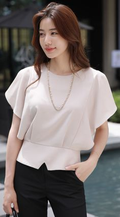 StyleOnme_Minimal Angel Sleeve Blouse #officelook #blouse #chic #koreanfashion #kstyle #kfashion #summertrend #workwear