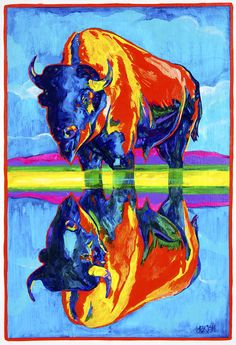 Bison Painting - Bison Reflections by Derrick Higgins American Bison, Native American Art, Color Terciario, Buffalo Art, Buffalo Painting, Southwest Art, Art Graphique, Thing 1, Native Art
