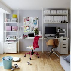 His and Hers IKEA work spaces in one tiny flat. Workspace Inspiration, Decoration Inspiration, Room Inspiration, Elvarli Ikea, Ikea Art, Stolmen Ikea, Home Office, Objet Deco Design, Drawer Unit