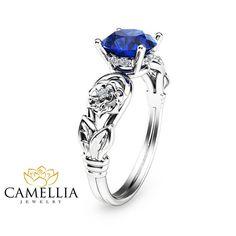 Weissgold Saphir-Verlobungsring einzigartigen von CamelliaJewelry