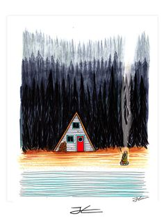 Cabin By The End Of The Road Art Print