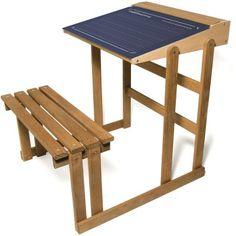 Vilac Drevená lavica s obojstrannou tabuľou Wooden Desk, Wooden Toys, Retro Desk, Retro Kids, Large Desk, School Desks, Oak Stain, Vintage School, Wood Sizes