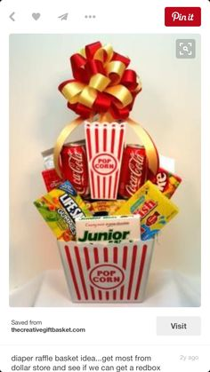 cute gift or raffle idea.get most from dollar store and see if we can get a redbox gift certificate or something Fundraiser Baskets, Raffle Baskets, Diy Gift Baskets, Candy Baskets, Craft Gifts, Diy Gifts, Movie Night Basket, Diaper Parties, Baby Shower Prizes