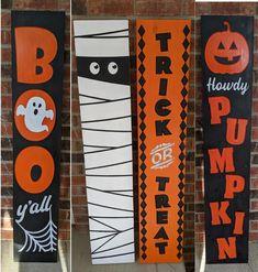 Halloween Porch Sign | Etsy Halloween Wood Crafts, Creepy Halloween Decorations, Diy Halloween Decorations, Spooky Halloween, Fall Crafts, Halloween Costumes, Wooden Halloween Signs, Halloween Yard Art, Rustic Halloween