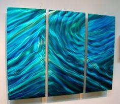 "Modern Abstract Metal Wall Art Decor Hand Painted Sculpture Blue ""Aquarius 2"" | eBay"