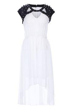 Rivets Detailed Anomalous White Dress