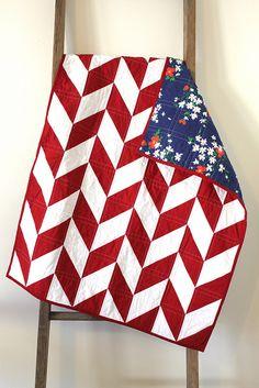red and white herringbone quilt. by CB Handmade, via Flickr