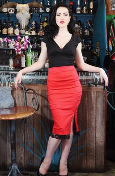 Pinup rockabilly red side split pencil skirt di holachicaclothing, $60,00